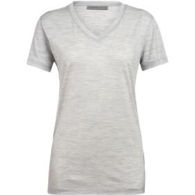 Icebreaker Ravyn Camiseta Manga Corta Cuello en V Mujer, blizzard heather
